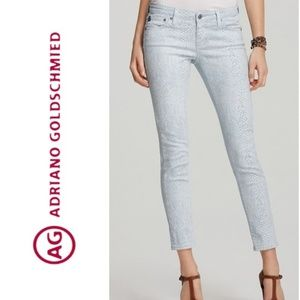 NWT ADRIANO GOLDSCHMEID Snake Print Skinny Jeans